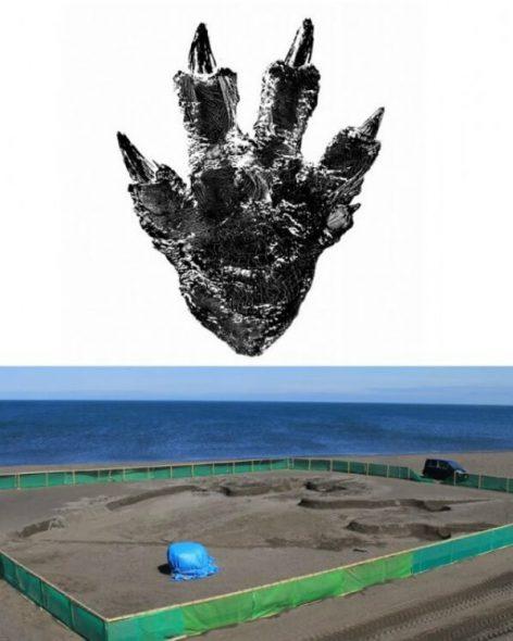 godzilla-impronta-spiaggia